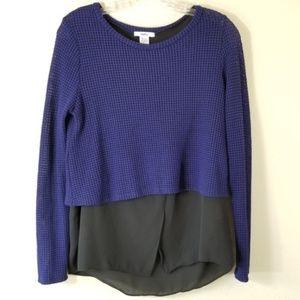 Bar III M Layered Waffle Open Knit Sweater 3235